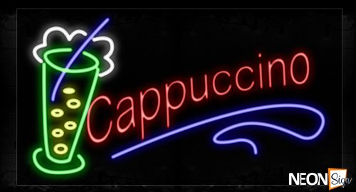 Image of 10428 Cappuccino In red With blue line and glass Neon Signs_20x37 Black Backing