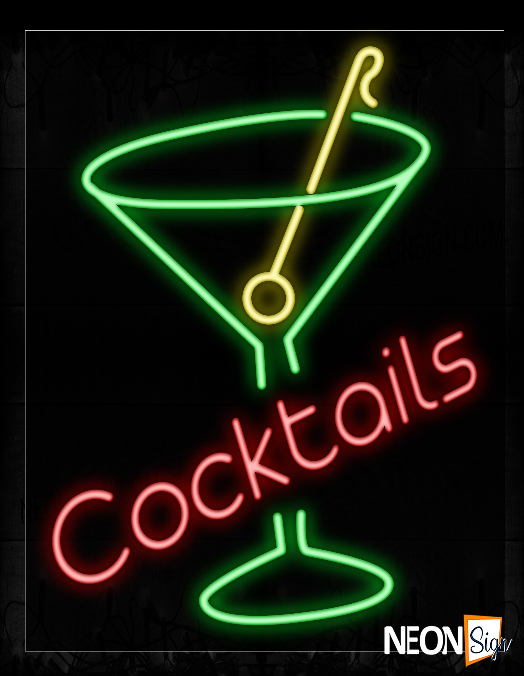 Image of 10439 Cocktails With Martini Glass Neon Signs_24x31 Black Backing