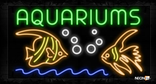 Image of 10447 Aquariums With 2 Fish Logo Neon Sign_20x37 Black Backing