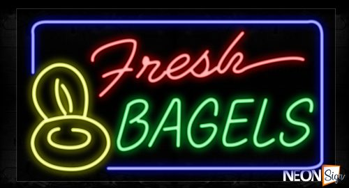 Image of 10453 Fresh Bagels And Blue Border With Loto Neon Signs_20x37 Black Backing