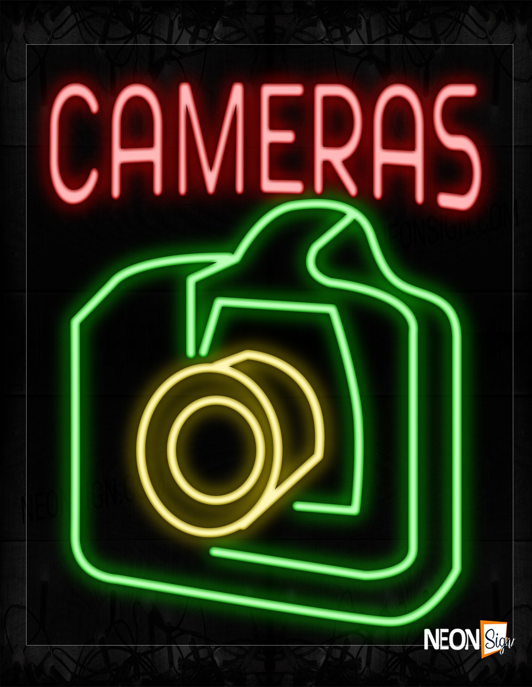 Image of 10456 Cameras With Logo Neon Signs_24x31 Black Backing