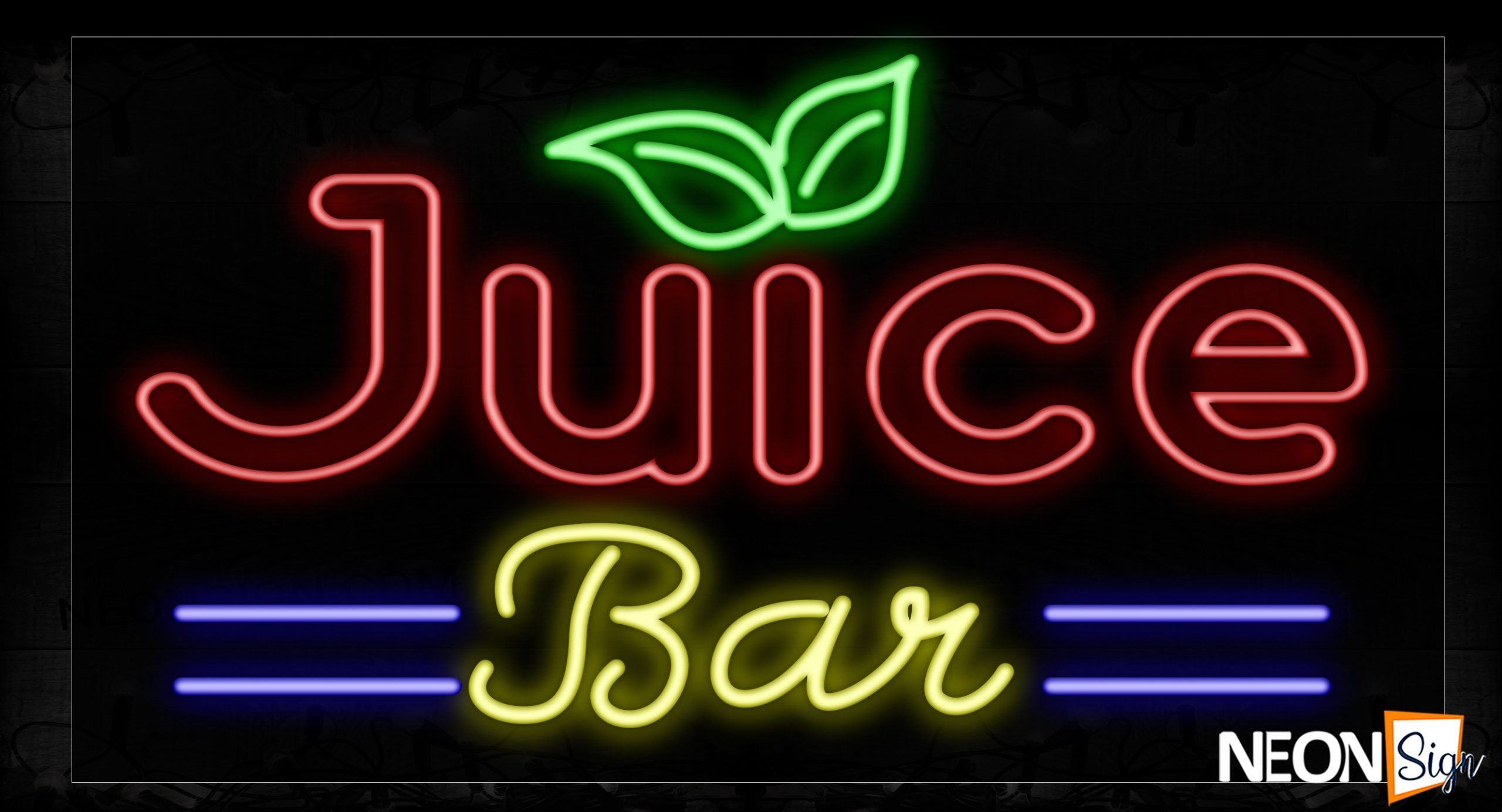 Image of 10461 Double Stroke Juice Bar With Blue Lines And Leaves Neon Signs_20x37 Black Backing