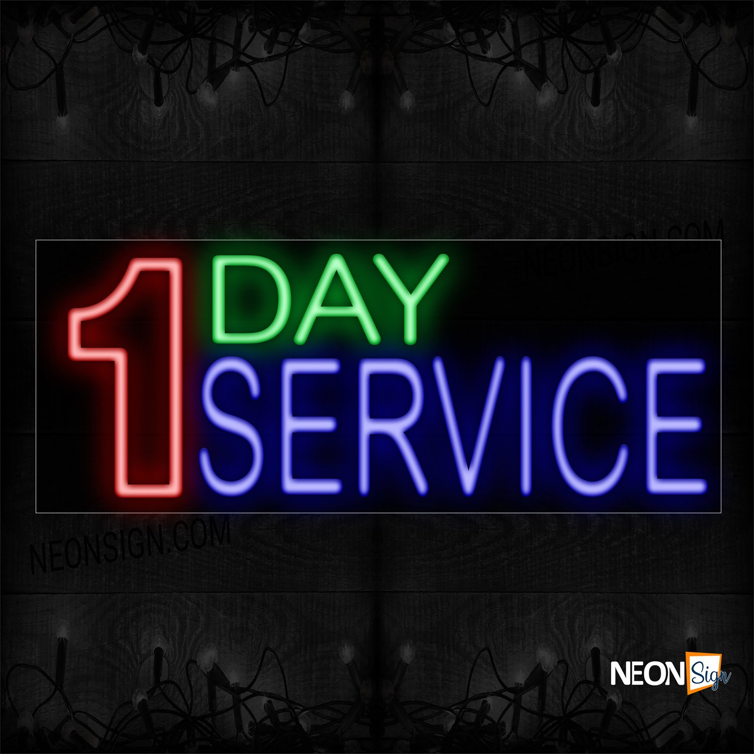 Image of 10482 1 Day Service Neon Sign_13x32 Black Backing
