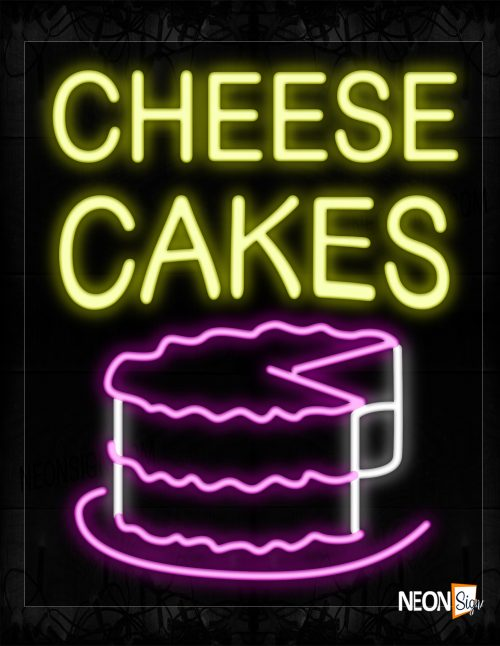 Image of 10498 Cheesecake With Cake Logo Neon Signs_20x37 Black Backing