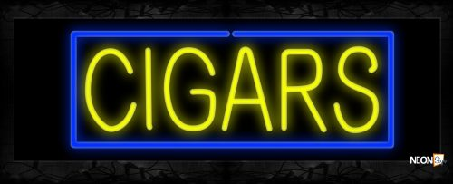 Image of 10526 Cigars in yellow with blue border Neon Sign 13x32 Black Backing