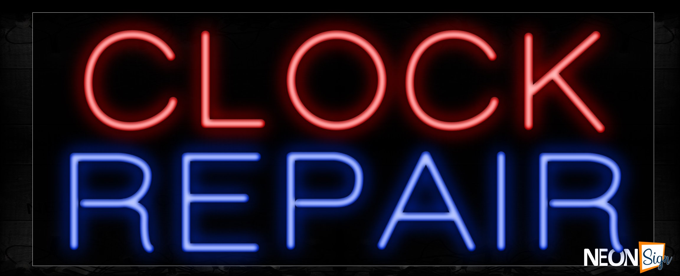 Image of 10528 Clock repair Neon Sign_13x32 Black Backing