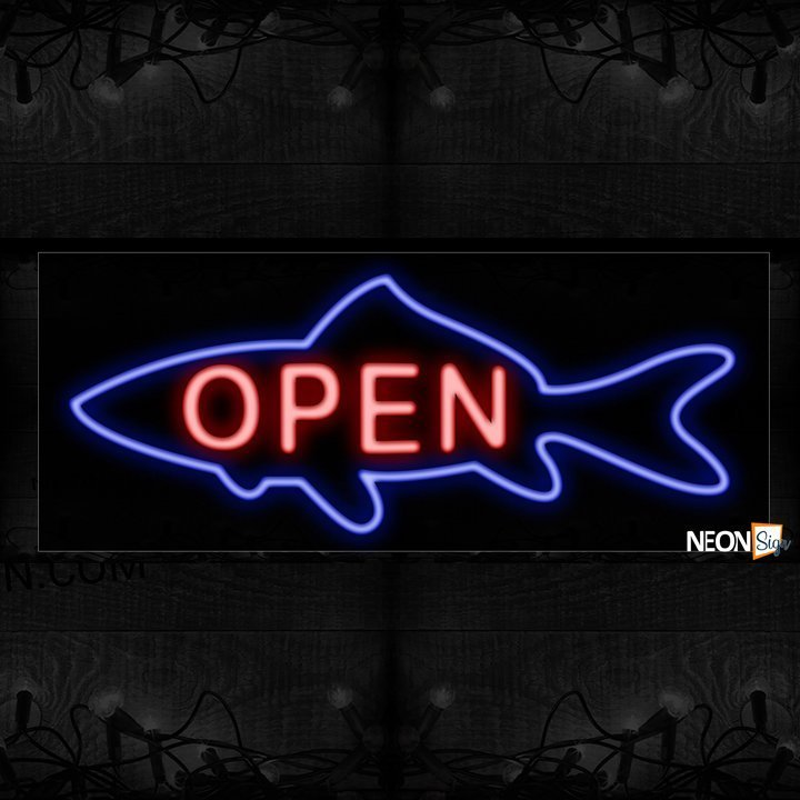 Open With Fish Shark Logo Neon Sign - NeonSign.com - photo#26