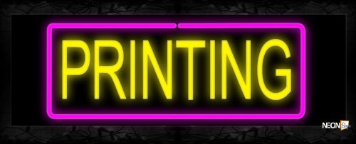 Image of 10612 Printing with border Neon Sign 13x32 Black Backing
