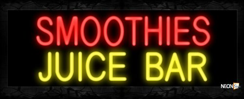 Image of 10627 Smoothies Juice Bar Neon Signs 13x32 Black Backing