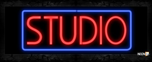 Image of 10630 Studio with border Neon Sign 13x32 Black Backing