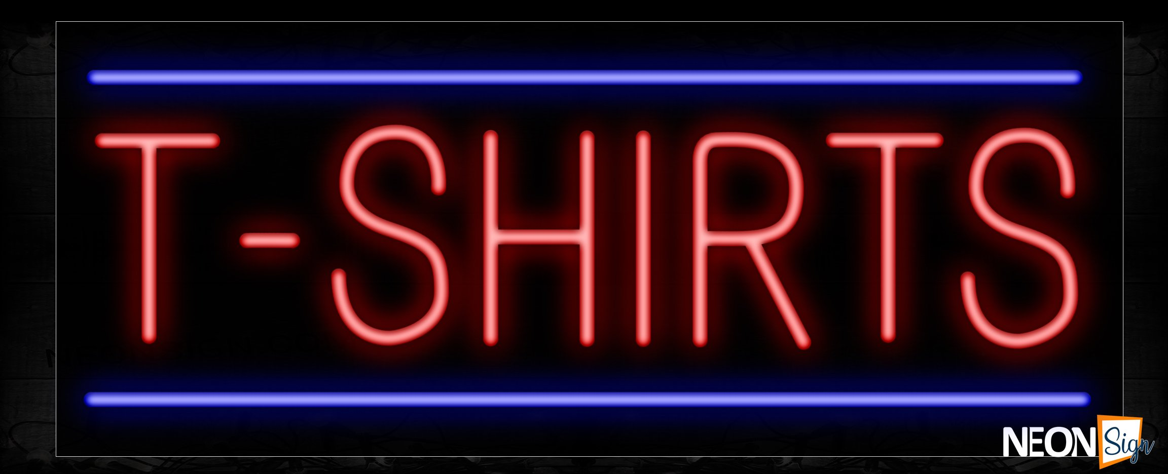 Image of 10633 T-Shirts wtih blue lines Neon Sign_13x32 Black Backing