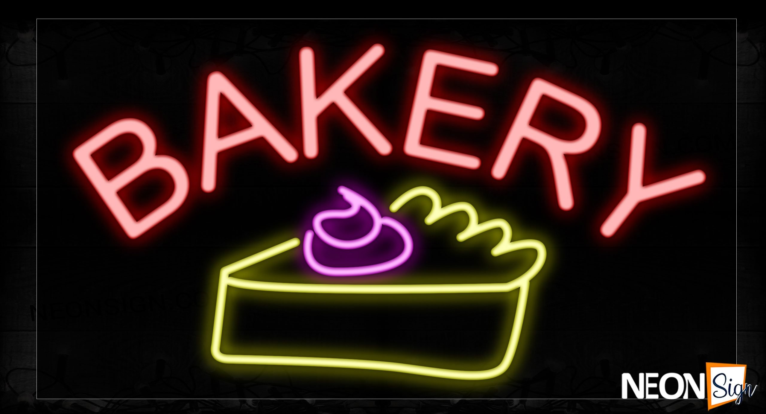 Image of 10666 Bakery In Red With Cake Logo Neon Signs_20x37 Black Backing