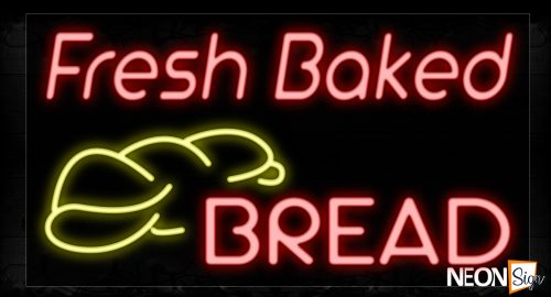 Image of 10669 Fresh Baked Bread Traditional Neon_20x37 Black Backing