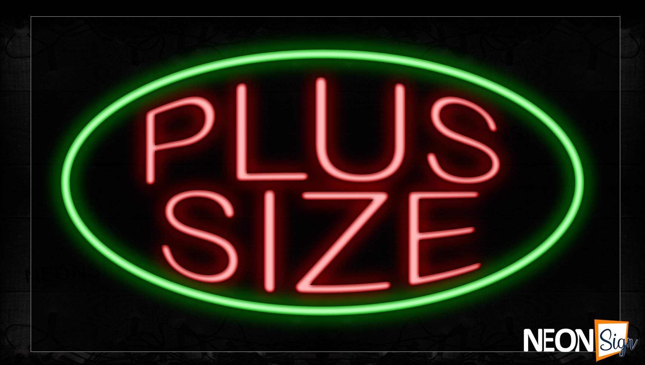 Image of 10694 Plus Size In Red With Green Oval Neon Signs_17x30 Black Backing