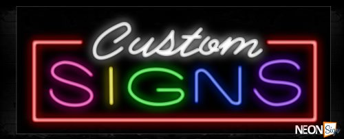 Image of 10719 Custom Signs with red border Neon Sign_13x32 Black Backing