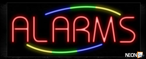 Image of 10725 Alarms in red with colorful arc border Neon Sign_13x32 Black Backing