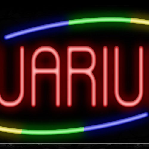 Image of 10728 Aquariums with curve line Neon Sign_13x32 Black Backing