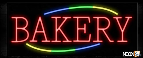 Image of 10734 Bakery in red with colorful arc border Neon Sign_13x32 Black Backing