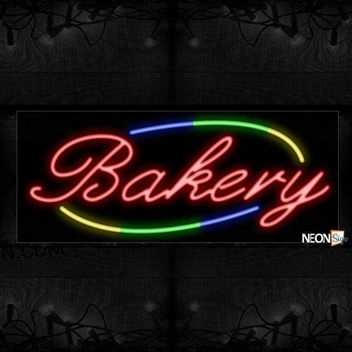 Image of 10735 Bakery with colorful curve line border Neon Sign_13x32 Black Backing