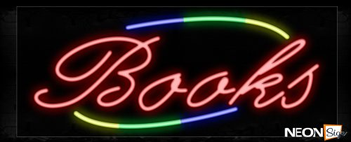 Image of 10745 Books In Red With Colorful Arc Border Neon Signs_13x32 Black Backing
