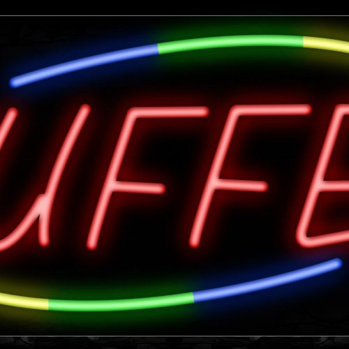 Image of 10751 Buffet in red with colorful arc logo Neon Sign_13x32 Black Backing