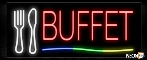 Image of 10752 Buffet in red with colorful lines and logo Neon Sign_13x32 Black Backing