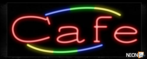 Image of 10755 Cafe in red with colorful arc border Neon Sign_13x32 Black Backing
