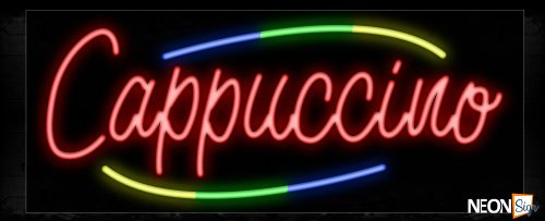 Image of 10759 Cappuccino with colorful arc border Neon Sign_13x32 Black Backing