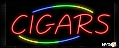 Image of 10767 Cigars with arc border Neon Sign_13x32 Black Backing