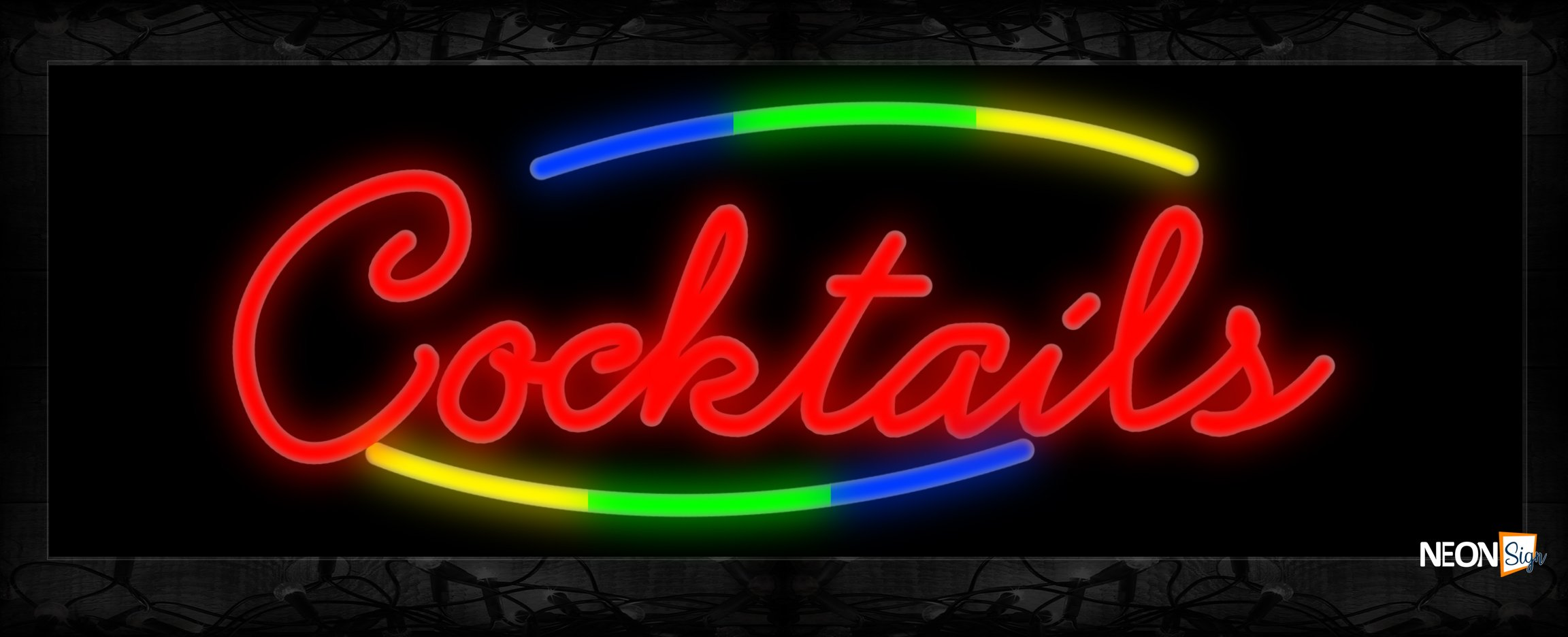 Image of Cocktails In Red With Colorful Arc Border Neon Sign