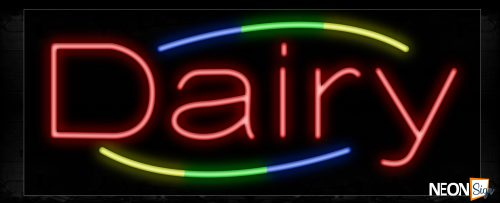 Image of 10776 Dairy with curve border Neon Sign_13x32 Black Backing