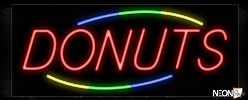 Image of 10785 Donuts in red with colorful arc border Neon Sign_13x32 Black Backing