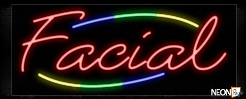 Image of 10793 Facial in red with colorful arc border Neon Sign_13x32 Black Backing