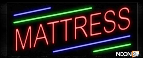 Image of 10833 Mattress With Green And Blue Lines Neon Signs_13x32 Black Backing