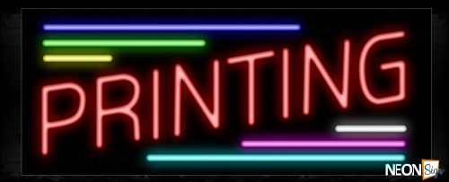 Image of 10880 Printing with colorful line Neon Sign_13x32 Black Backing