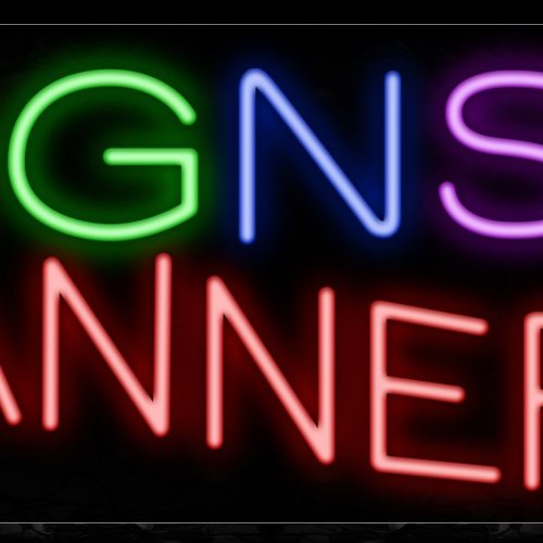 Image of 10898 signs & banner with border led bulb sign_13x32 Black Backing