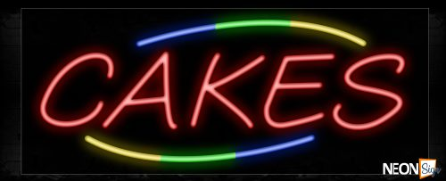 Image of 10937 Cakes with arc border Neon Sign_13x32 Black Backing
