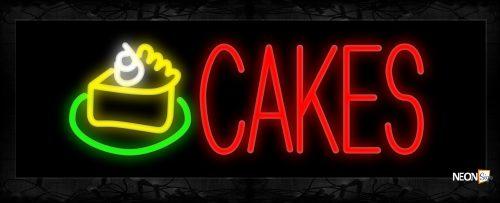 Image of 10938 Cakes with slice cake logo Neon Sign 13x32 Black Backing
