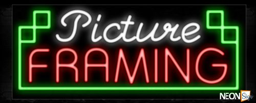 Image of 10957 Picture Framing with green border Neon Sign_13x32 Black Backing