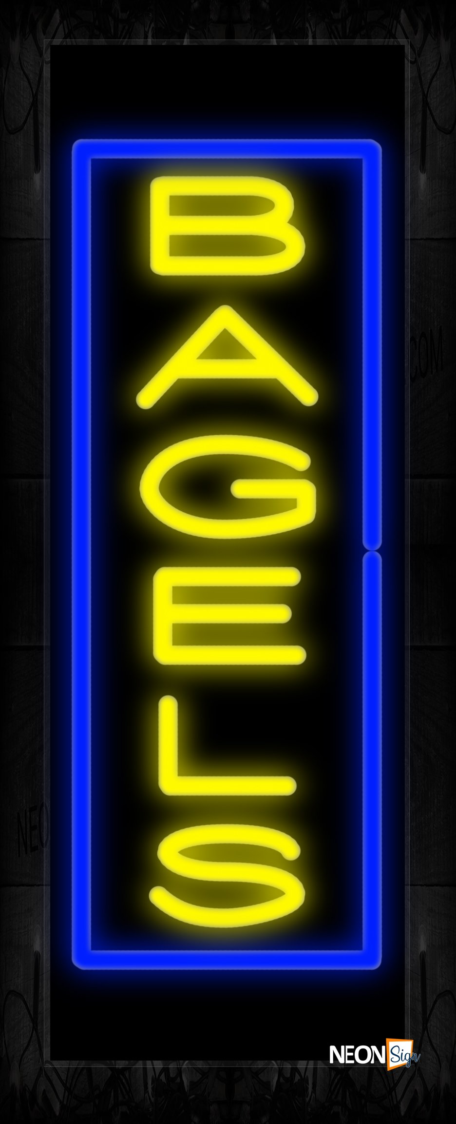 Image of 10963 Bagels in yellow with blue border (Vertical) Neon Sign 13x32 Black Backing