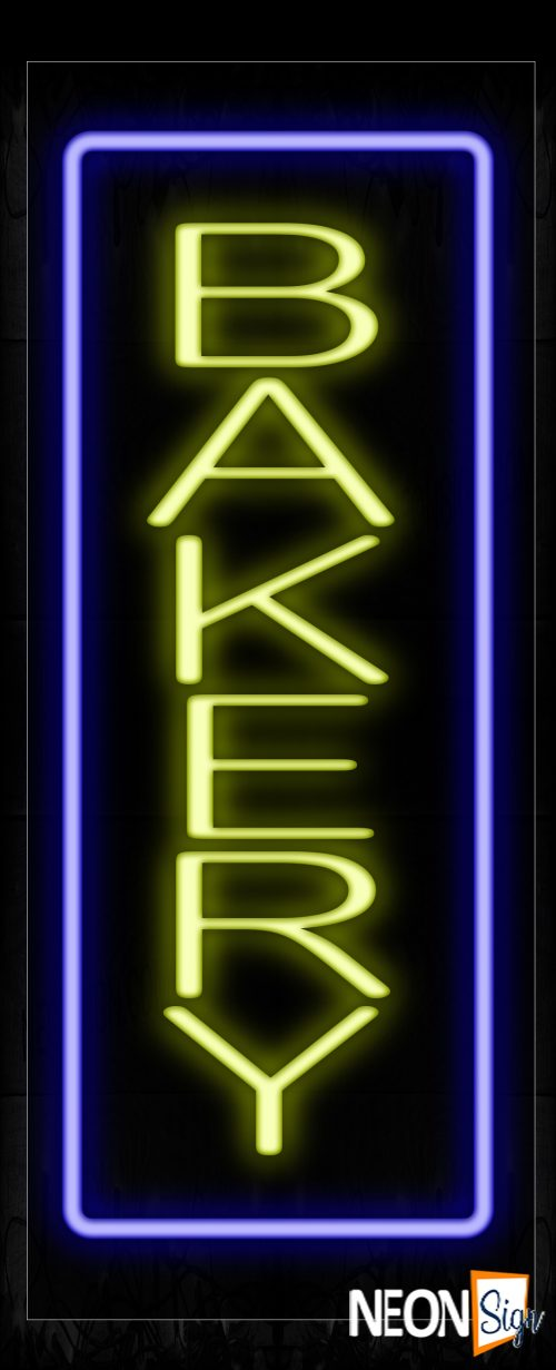 Image of 10964 Bakery In Yellow With Blue Border Neon Signs - Vertical_13x32 Black Backing