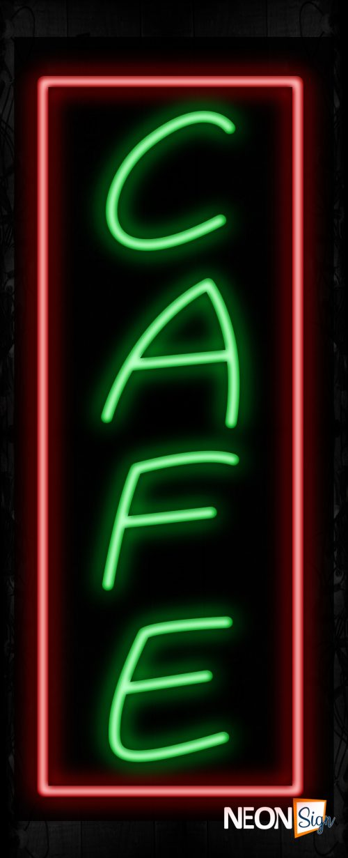 Image of 10974 Cafe with border Neon Signs_32 x12 Black Backing