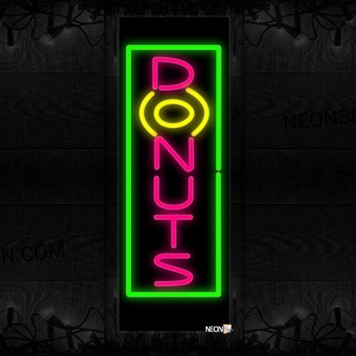 Image of 10985 Donuts with border Neon Sign 13x32 Black Backing