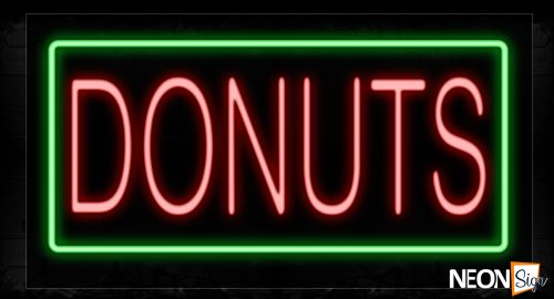 Image of 11070 Donuts With Green Border Neon Signs_20x37 Black Backing