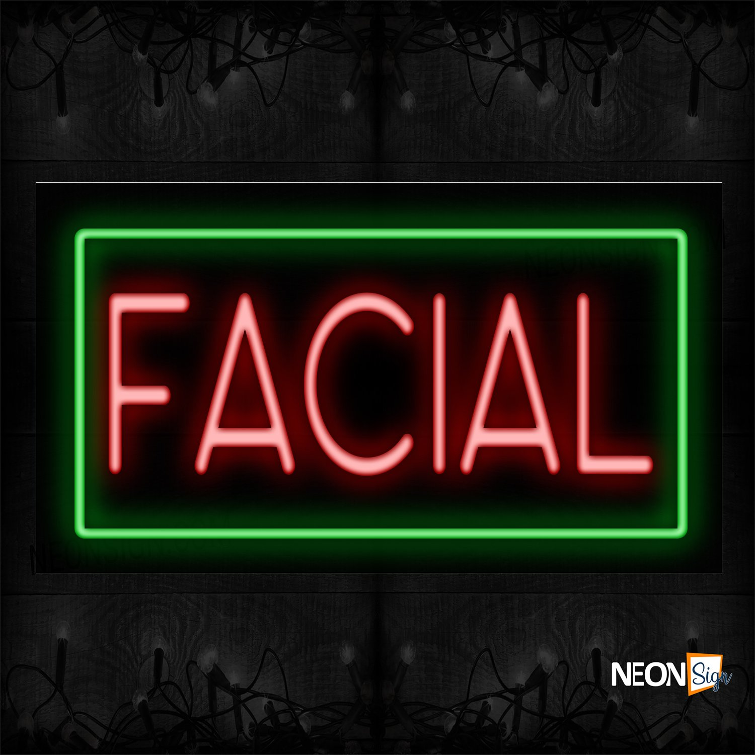 Image of 11073 Facial In Red With Green Border Neon Signs_20x37 Black Backing