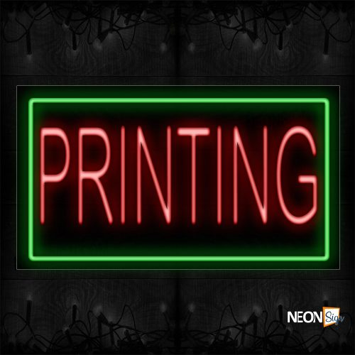 Image of 11110 Printing in red With green Border Neon Signs_20x37 Black Backing