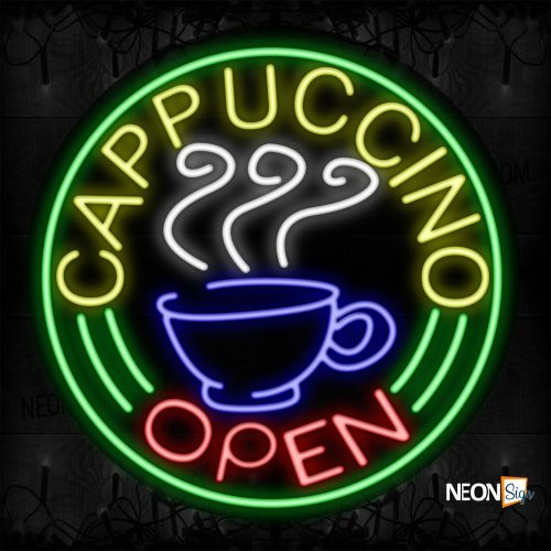 Image of 11129 Cappuccino Open With Border & Mug Neon Signs_26x26 Contoured Black Backing