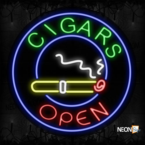 Image of 11131 Cigars Open With Logo And Blue Circle Border Neon Signs_26x26 Contoured Black Backing