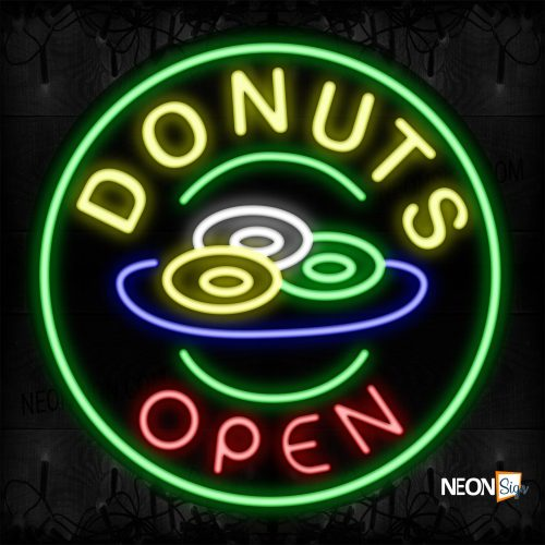 Image of 11139 Donuts Open With Circle Border Neon Signs_26x26 Contoured Black Backing