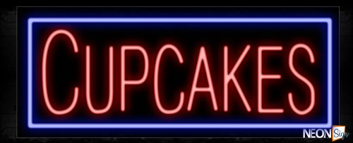 Image of 11186 Cupcakes in red with blue border Neon Sign_13x32 Black Backing